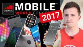 Comparación del Nokia 3310, Huawei P10, LG G6, Xperia XZ Premium, Moto G5, Alcatel en el MWC 2017.