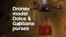 Drones model purses at Dolce & Gabbana fashion show.