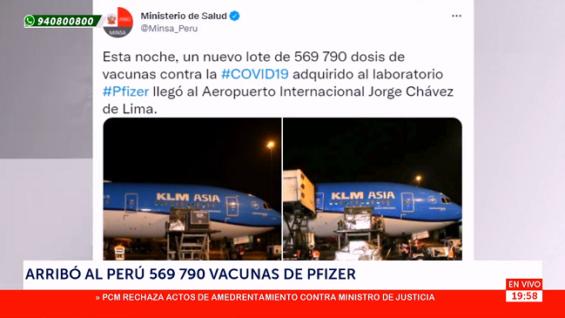 Llegaron al Perú un lote de 569,790 dosis de vacunas Pfizer